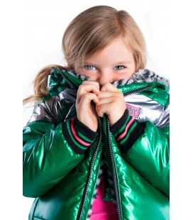 B.Nosy reversible jacket with zigzag fur and metallic shell