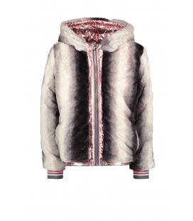 B.Nosy reversible jacket with gradient stripe fur and metallic shell