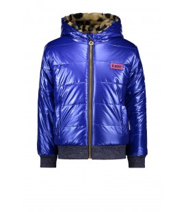 B.Nosy reversible jacket with leopard fur and artwork on backside