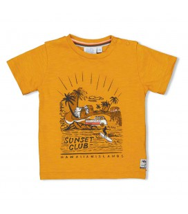 T-shirt Sunset Club - Happy Camper - Okergeel
