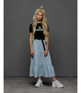 ELLE CHIC maxi skirt lightweight denim