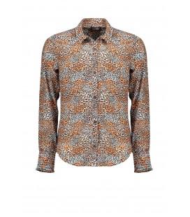 Nobel Tess blouse Leopard AOP on poly voile