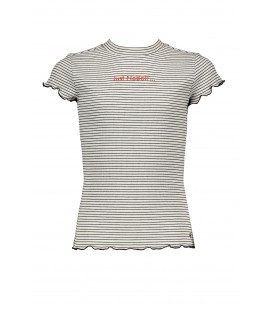 NoBell KimaB yarn dyed rib jersey tshirt with ssl and curly edges+small turtle neck