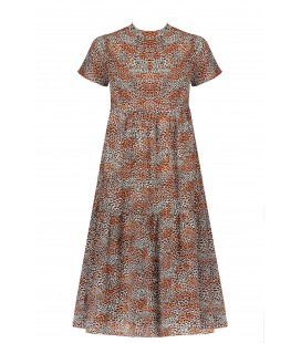 NoBell Mian s/sl maxi wide dress with small turtle neck in Leopard AOP