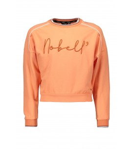 NoBell Kess long sleeve sweater with piping detail at sleeve+Nobell embro