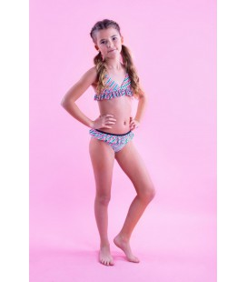 B.Nosy Stripe sunny ao bikini with ruffle details