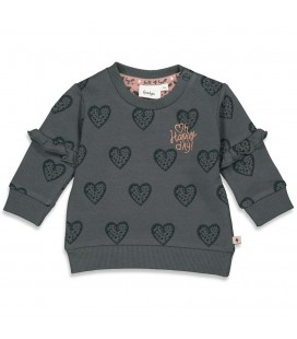Feetje Sweater AOP - Full Of Love - Antraciet