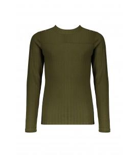 NoBell l/sl rib tshirt with buttons at shoulder Karen