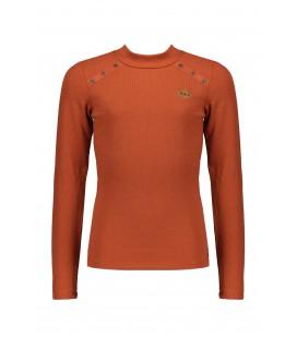 NoBell l/sl rib tshirt with metal buttons+turtle neck Kara
