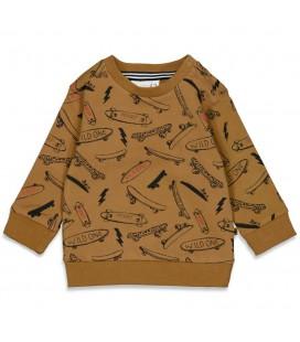 Feetje Sweater AOP - On A Roll - Geel