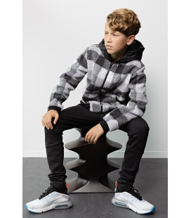 Bellaire Hooded check fur sweater
